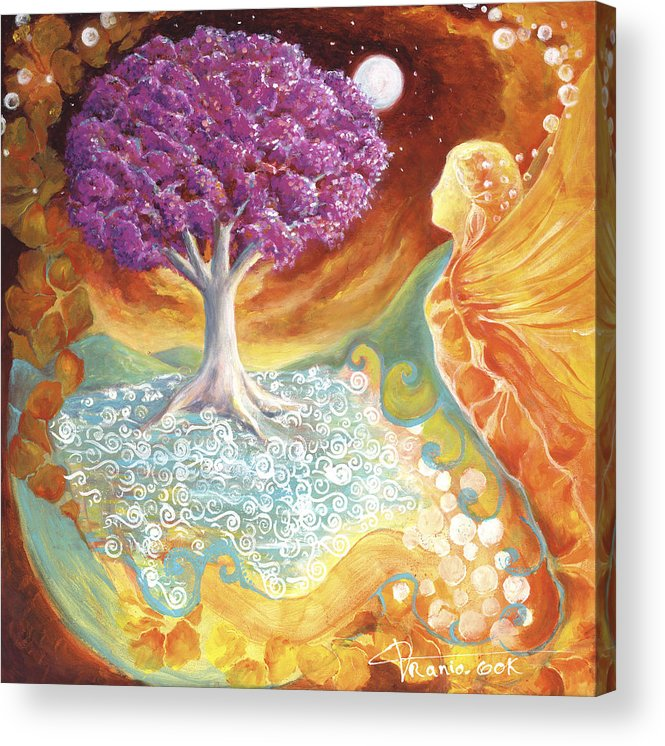 Earth Acrylic Print featuring the painting Ruby Tree Spirit by Valerie Graniou-Cook
