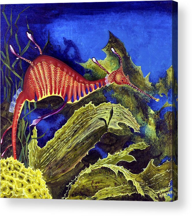 Seadragon Acrylic Print featuring the painting Sea Dragon by Mary Palmer