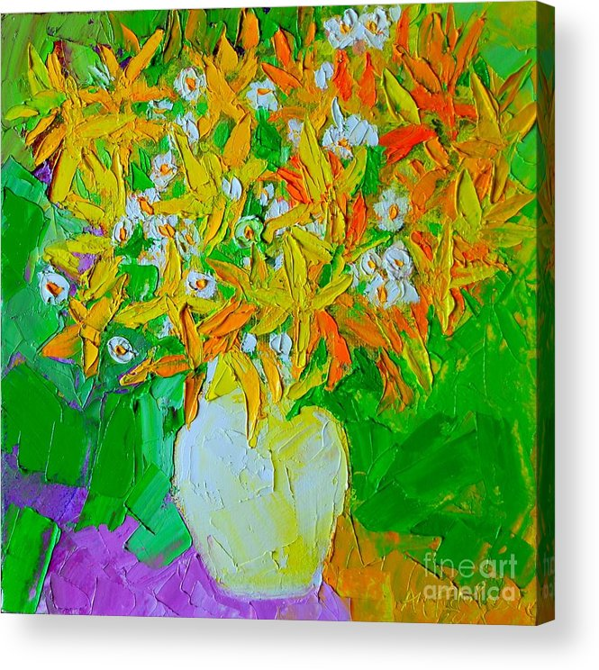 Forsythia Acrylic Print featuring the painting Spring Flowers by Ana Maria Edulescu