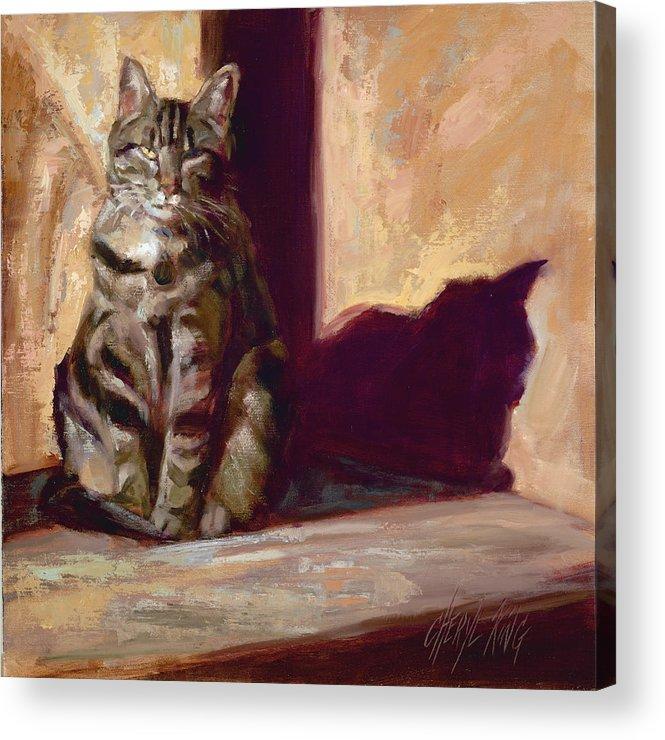 Cat Tabby Feline Kitty Sunshine Shadow Purr Meow Acrylic Print featuring the painting Sun Worship by Cheryl King