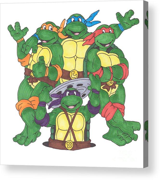 Fanart Acrylic Print featuring the painting Teenage Mutant Ninja Turtles by Yael Rosen