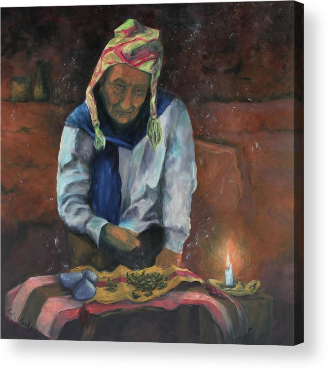 Coca Acrylic Print featuring the painting The Coca Reader by Carla Woody