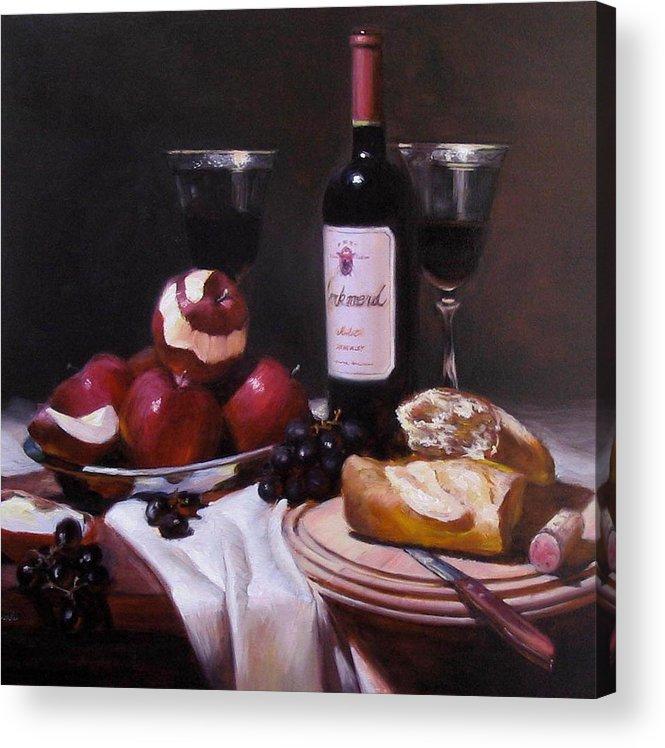 Wine Acrylic Print featuring the painting Wine With Peeled Apples by Takayuki Harada