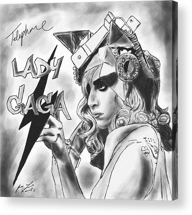 Lady Gaga Telephone Drawing Acrylic Print featuring the drawing Lady Gaga Telephone Drawing by Kenal Louis
