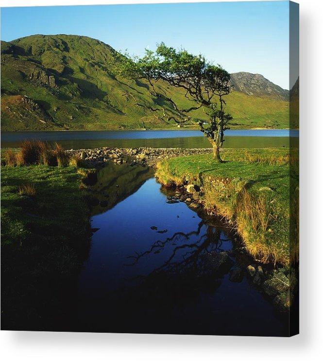 Connemara Acrylic Print featuring the photograph Co Galway, Kylemore Lough, Benbaun by The Irish Image Collection