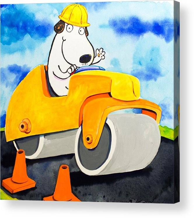 Dog Acrylic Print featuring the painting Construction Dogs 3 by Scott Nelson