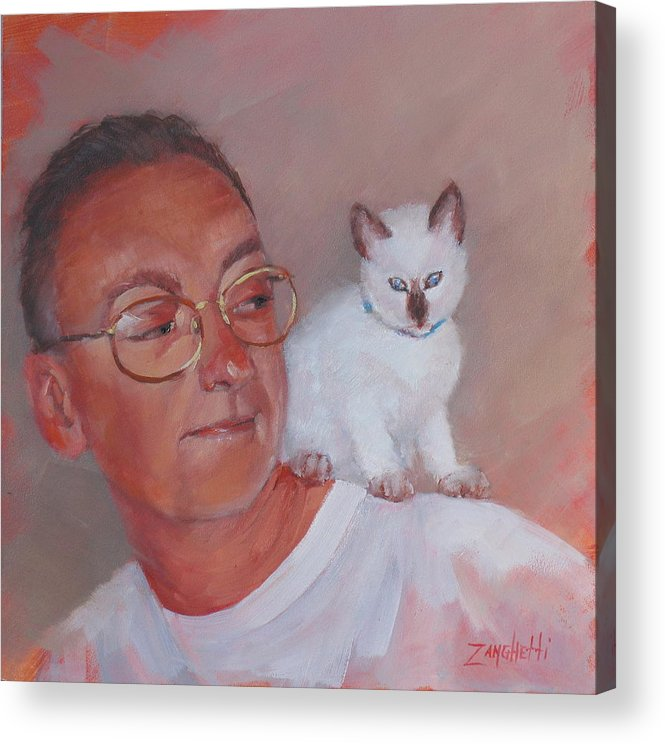 Portrait Acrylic Print featuring the painting George And Doc by Laura Lee Zanghetti