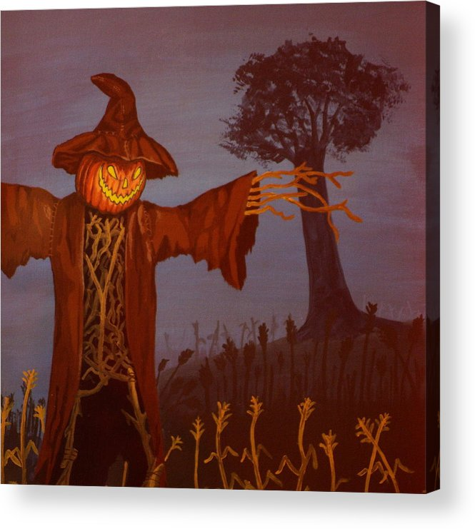 Scarecrow Acrylic Print featuring the painting Helloween by Shawn OLeary