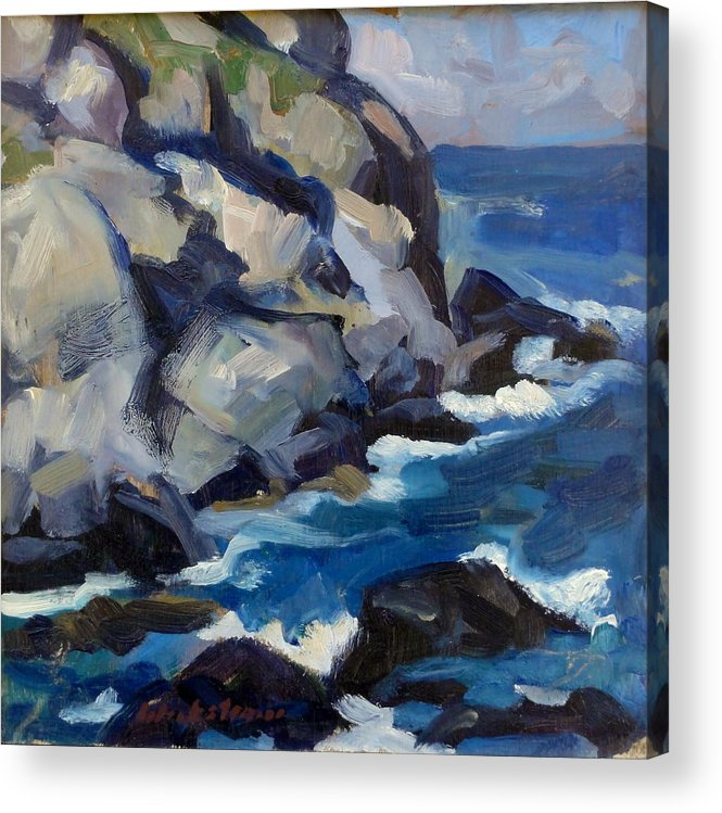 Maine Acrylic Print featuring the painting Little Maine Seascape by Thor Wickstrom
