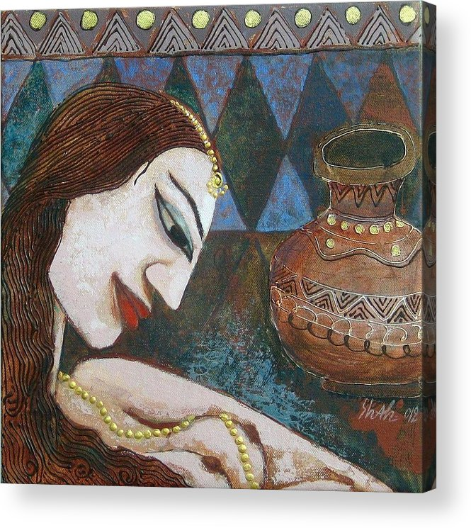 Acrylic Print featuring the painting Portraiyal - Vi by Umesh Shah