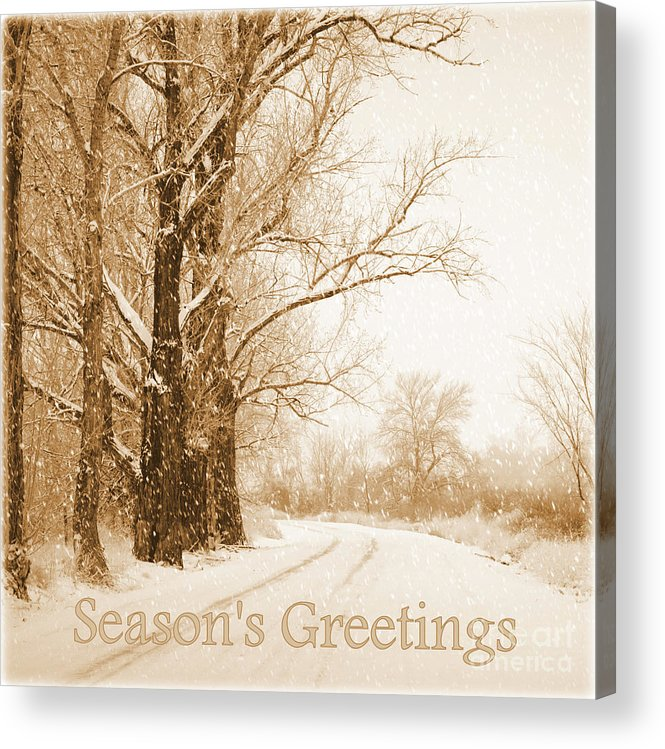 Snowy Holiday Scene Acrylic Print featuring the photograph Soft Sepia Season's Greetings by Carol Groenen