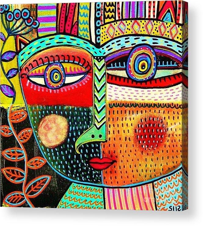 Women Acrylic Print featuring the painting -talavera Owl Goddess by Sandra Silberzweig