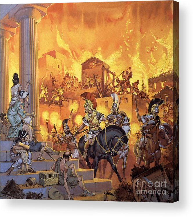 Rome; Ancient Rome; Romans; Attack; Destruction; Fire; Soldiers; Flames; Temple Acrylic Print featuring the painting Unidentified Roman Attack by Angus McBride