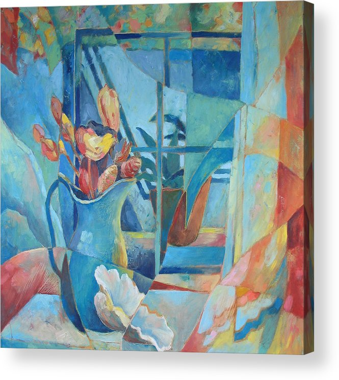 Still Life Acrylic Print featuring the painting Window In Blue by Susanne Clark