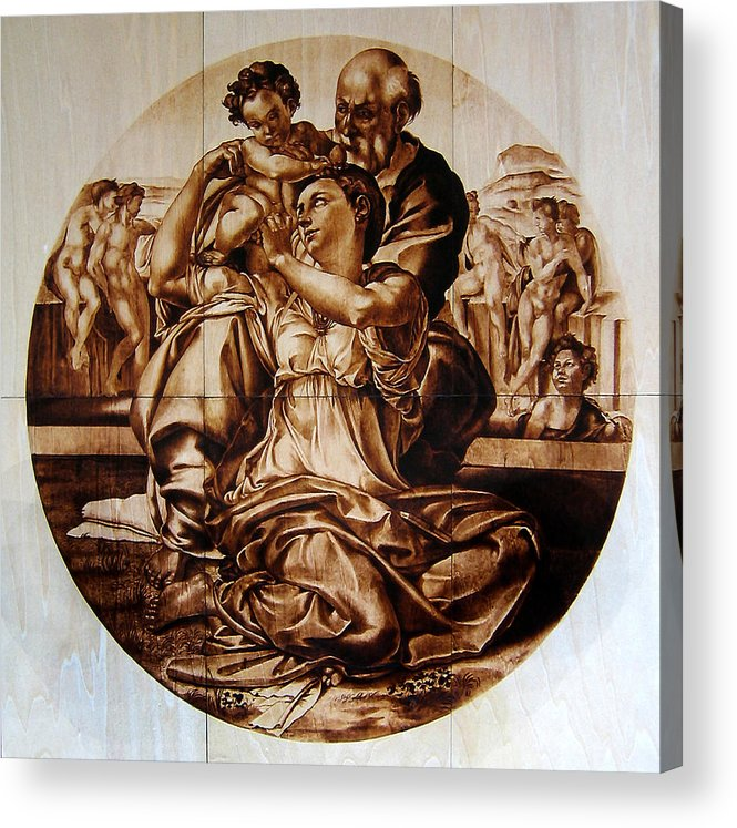 Dino Muradian Acrylic Print featuring the pyrography Doni Tondo by Dino Muradian