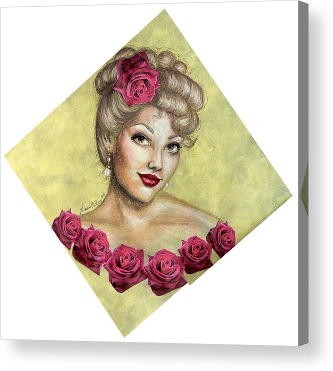 Portrait Acrylic Print featuring the drawing Rose by Scarlett Royal