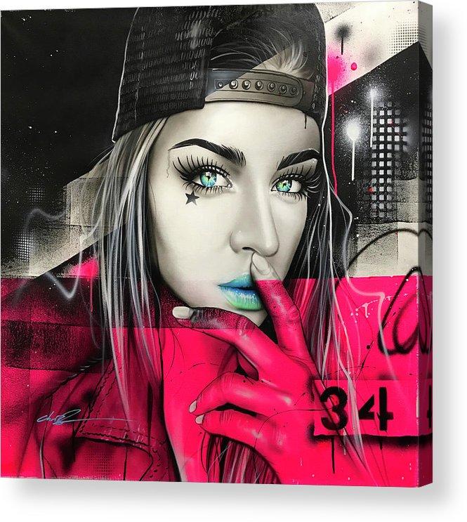 Street Life Acrylic Print featuring the painting 34 Dj Girl by Christian Chapman Art