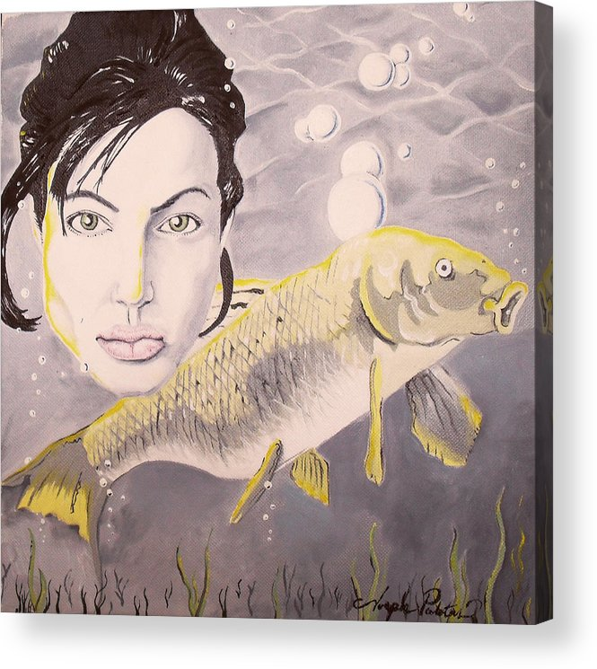 Angelina Acrylic Print featuring the painting A Fish Named Angelina by Joseph Palotas
