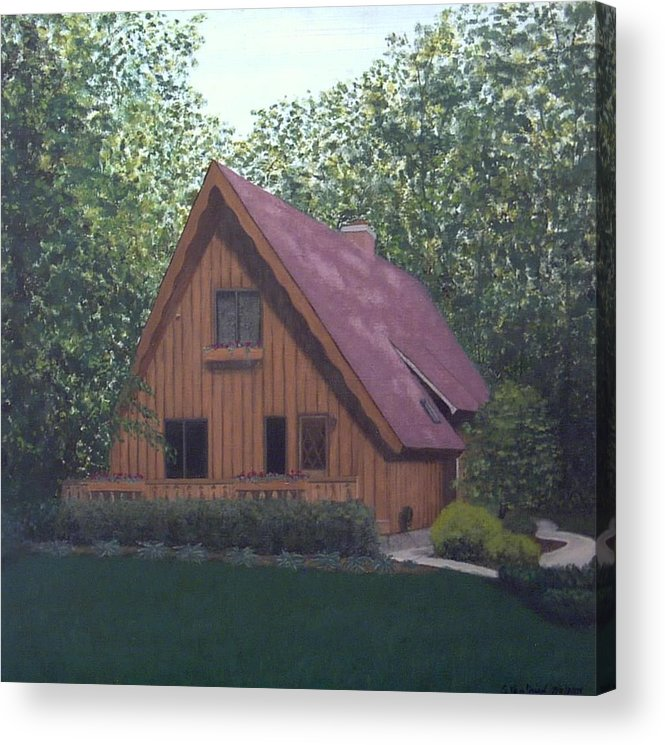 House Landscape Sheboygan Wi Acrylic Print featuring the painting A-frame by Sally Van Driest