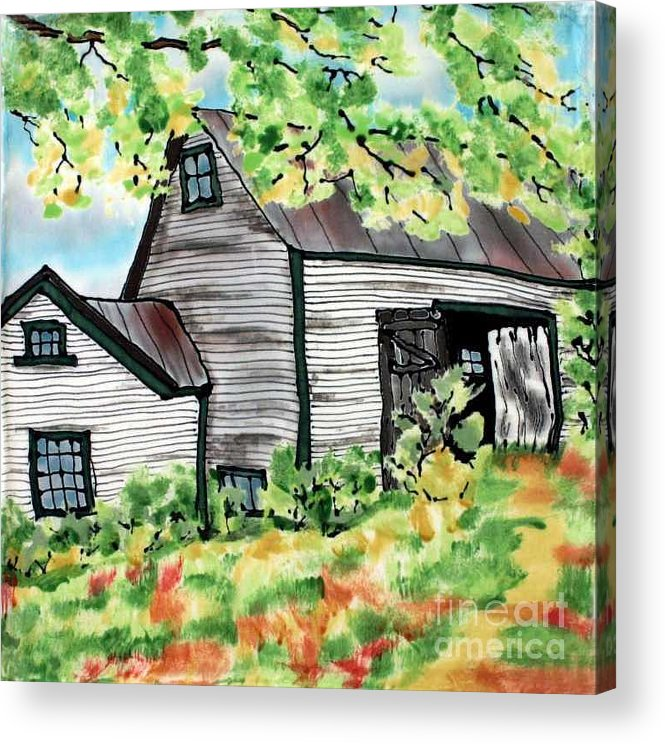 Silk Painting Acrylic Print featuring the painting August Barn by Linda Marcille