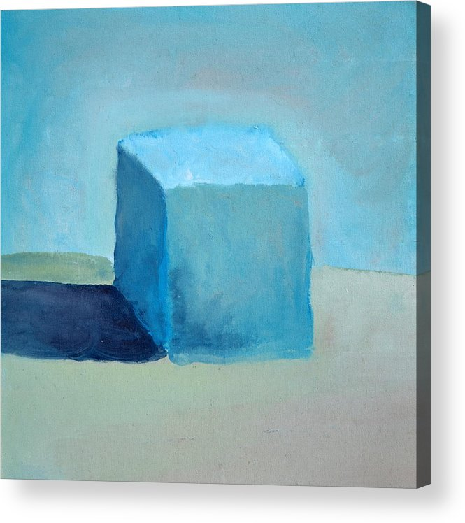 Blue Acrylic Print featuring the painting Blue Cube Still Life by Michelle Calkins