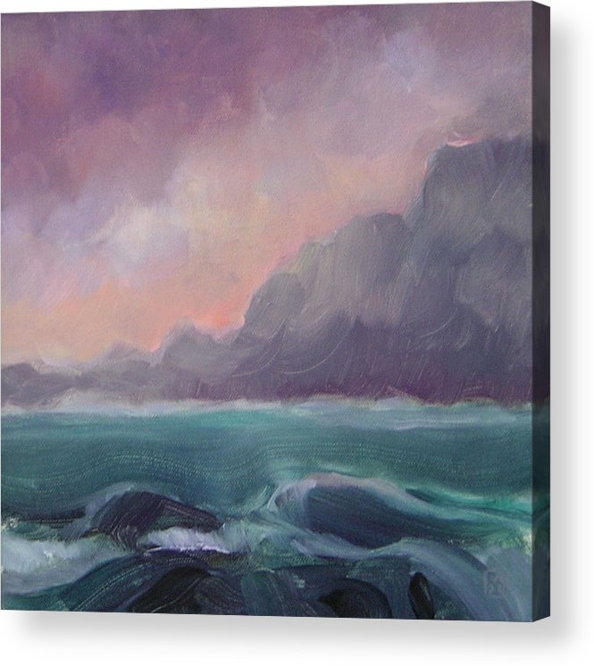 Seascape Acrylic Print featuring the painting Brooding Tide by Mary Brooking