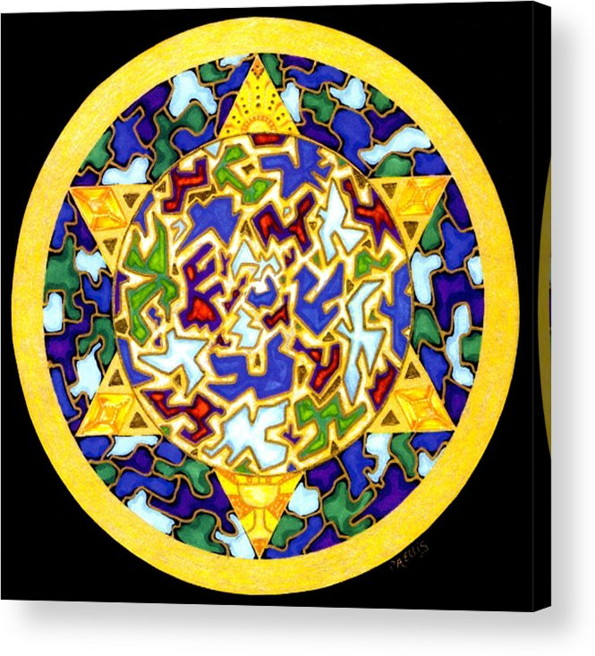 Puzzle Pieces Acrylic Print featuring the painting Changes  Mandala Series by Pam Ellis