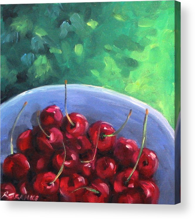 Art Acrylic Print featuring the painting Cherries On A Blue Plate by Richard T Pranke