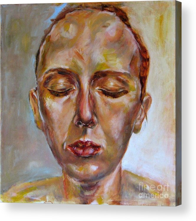 Portrait Acrylic Print featuring the painting Daydreaming by Iglika Milcheva-Godfrey