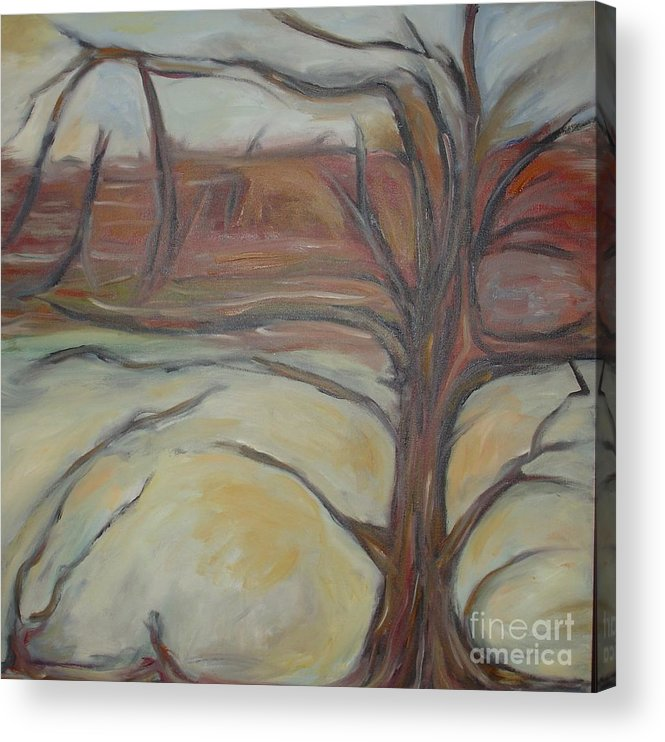 Woods Tree Abstract Original Painting Winter Acrylic Print featuring the painting Drift by Leila Atkinson