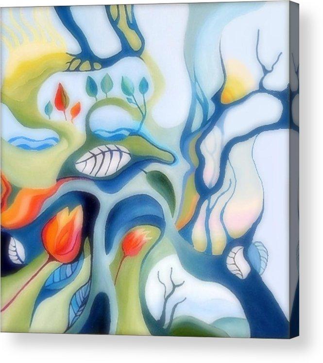Fantasy Landscape Acrylic Print featuring the painting Fantasy Landscape by Carola Ann-Margret Forsberg
