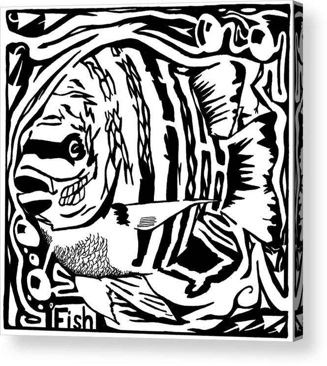 Fish Acrylic Print featuring the drawing Fish Maze by Yonatan Frimer Maze Artist