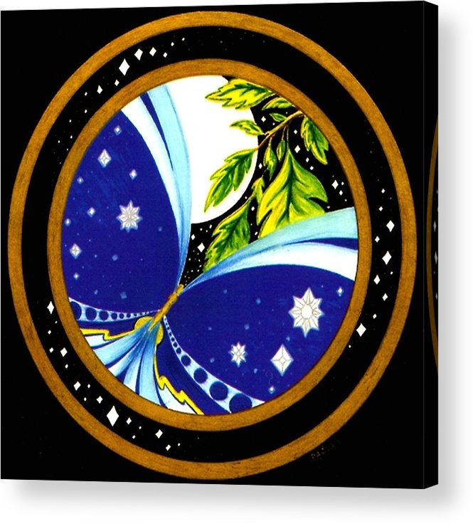 Butterfly With Stars Acrylic Print featuring the painting Freedom Mandala Series Number Eleven by Pam Ellis