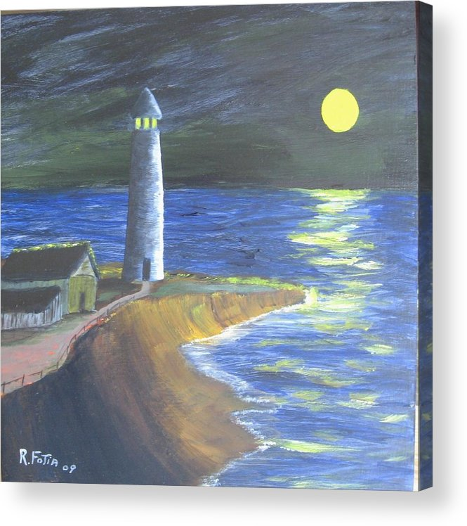 Lighthouse Acrylic Print featuring the painting Full Moon Lighthouse by Rich Fotia