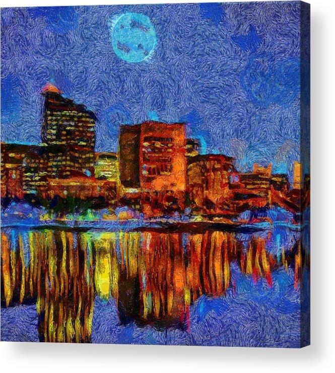 Full Moon Over Boston Acrylic Print featuring the painting Full Moon Over Boston by Dan Sproul