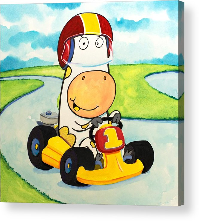 Cow Acrylic Print featuring the painting Go Cart Cow by Scott Nelson