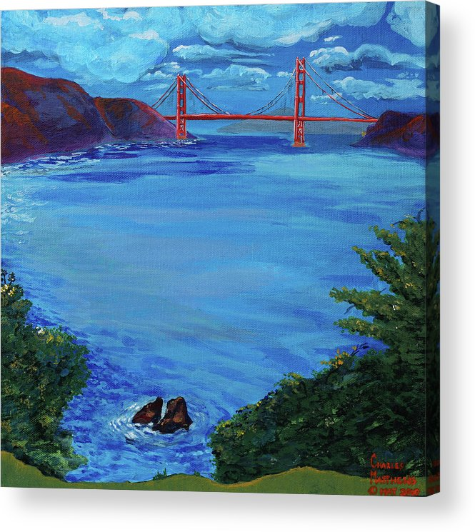 Lincoln Park Acrylic Print featuring the painting Golden Gate Bridge From Lincoln Park by Charles and Stacey Matthews