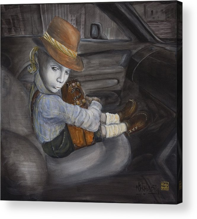 Boy Acrylic Print featuring the painting Hitchhiker by Nik Helbig