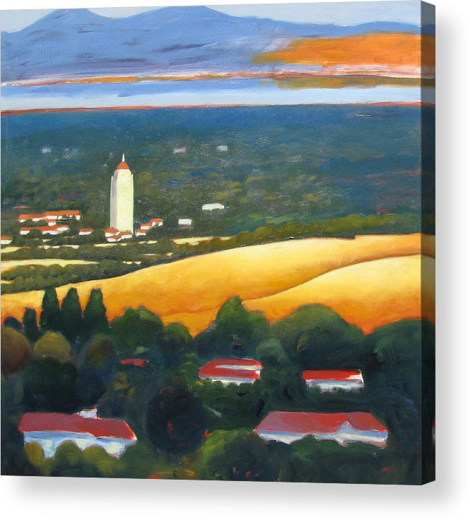 Stanford University Acrylic Print featuring the painting Hoover Tower From Hills by Gary Coleman