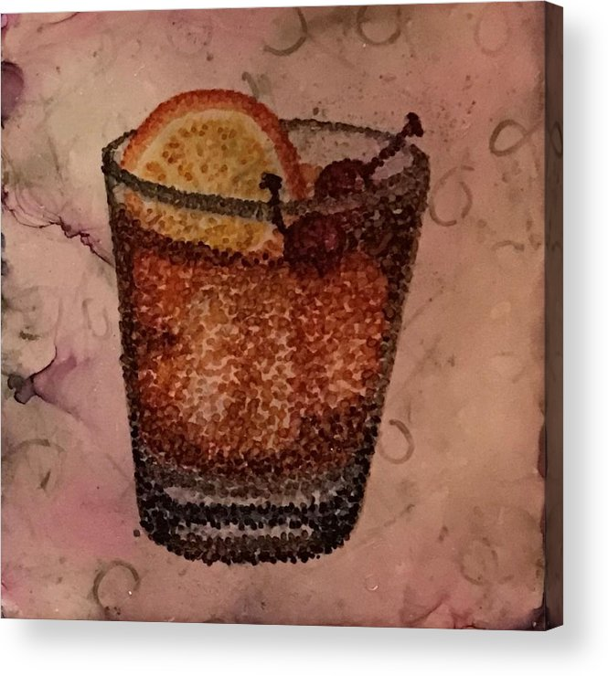 Cocktail Acrylic Print featuring the painting How About An Old Fashioned? by Leanne Poellinger