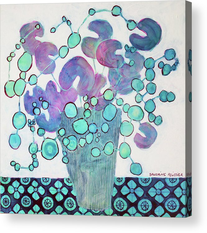 Abstract Flower Paintings Acrylic Print featuring the painting In Nagano by Sandrine Pelissier