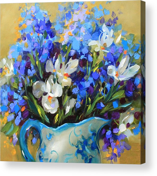 Irises Acrylic Print featuring the painting Irises And Blue Glass by Nancy Medina