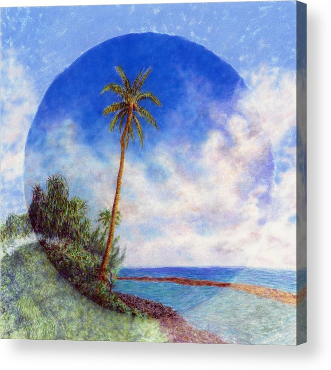 Rainbow Colors Pastel Acrylic Print featuring the painting Ke'e Palm by Kenneth Grzesik