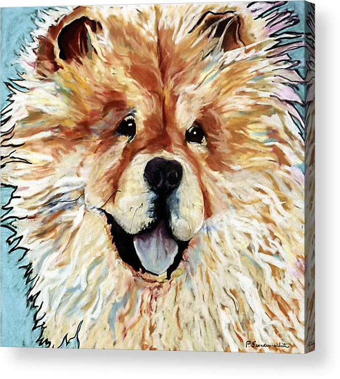Chow Chow Acrylic Print featuring the pastel Madame Chu Cho by Pat Saunders-White