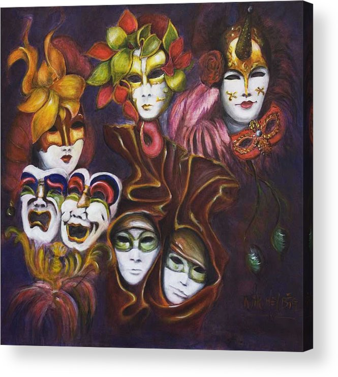 Masks Acrylic Print featuring the painting Making Faces I by Nik Helbig