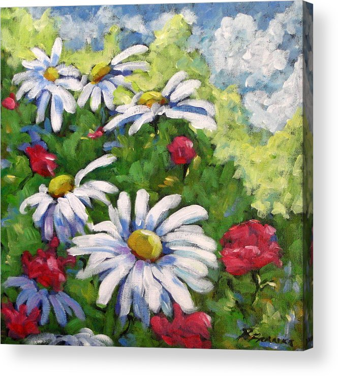 Daysy Acrylic Print featuring the painting Marguerites 002 by Richard T Pranke