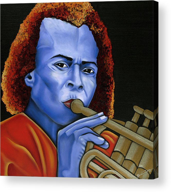 Portrait Acrylic Print featuring the painting Miles by Nannette Harris