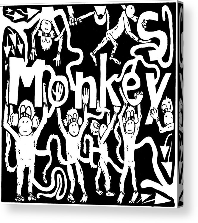Monkey Acrylic Print featuring the drawing Monkeys Maze For M by Yonatan Frimer Maze Artist
