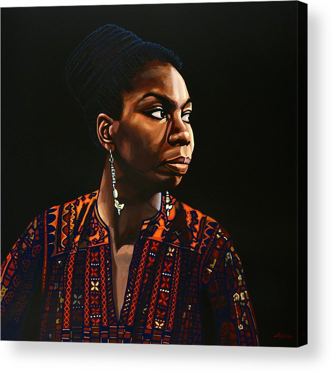 Nina Simone Acrylic Print featuring the painting Nina Simone Painting by Paul Meijering