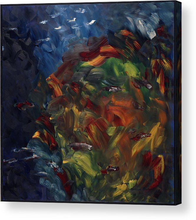 Abstract Acrylic Print featuring the painting Passer Au Dessus by Dominique Boutaud